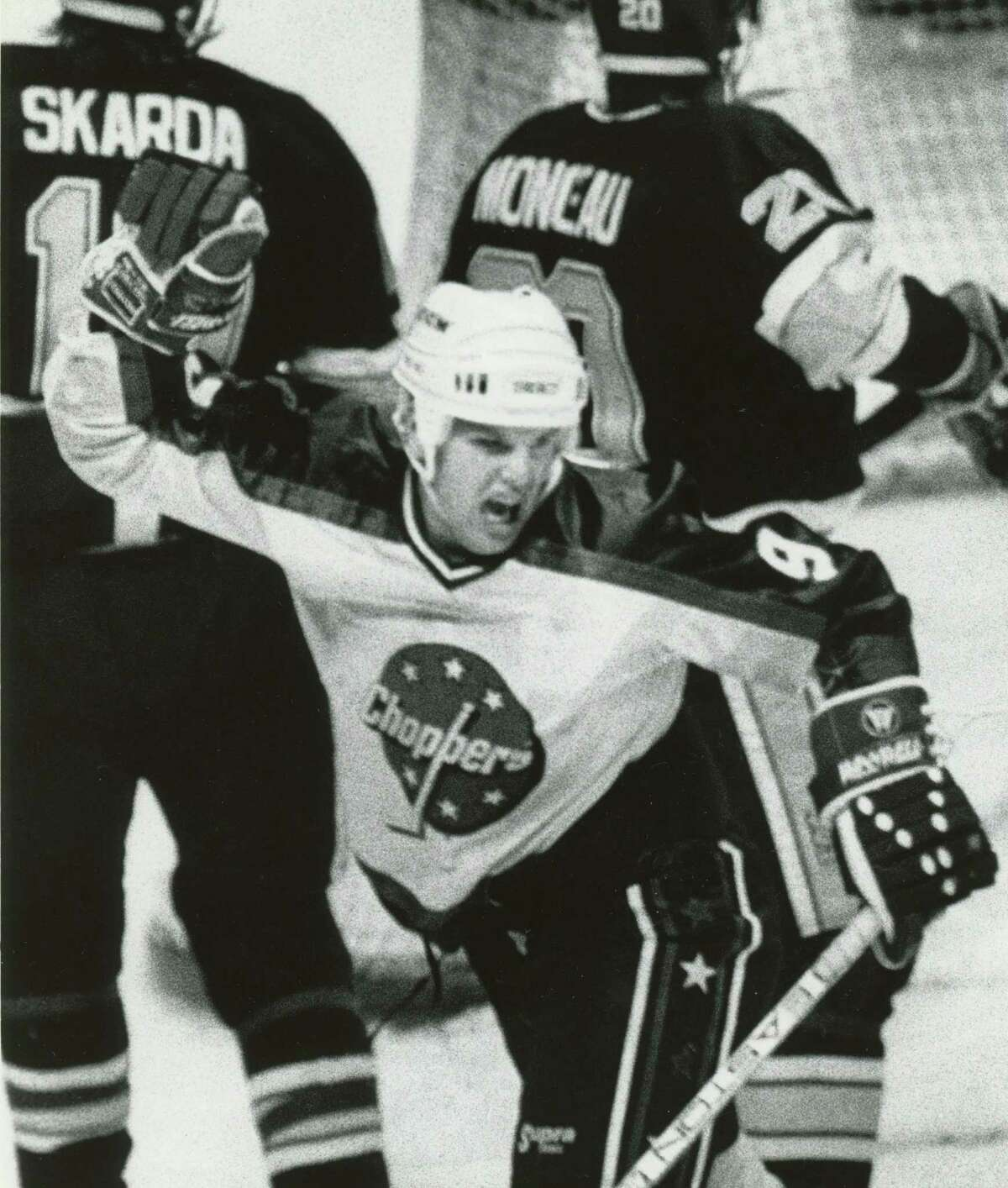 Stuart Burnie of the Choppers reacts after scoring during game action on Dec. 4, 1990, at the Knickerbocker Arena in Albany, N.Y. The goal was disqualified by officials. (John Carl D'Annibale/Times Union)