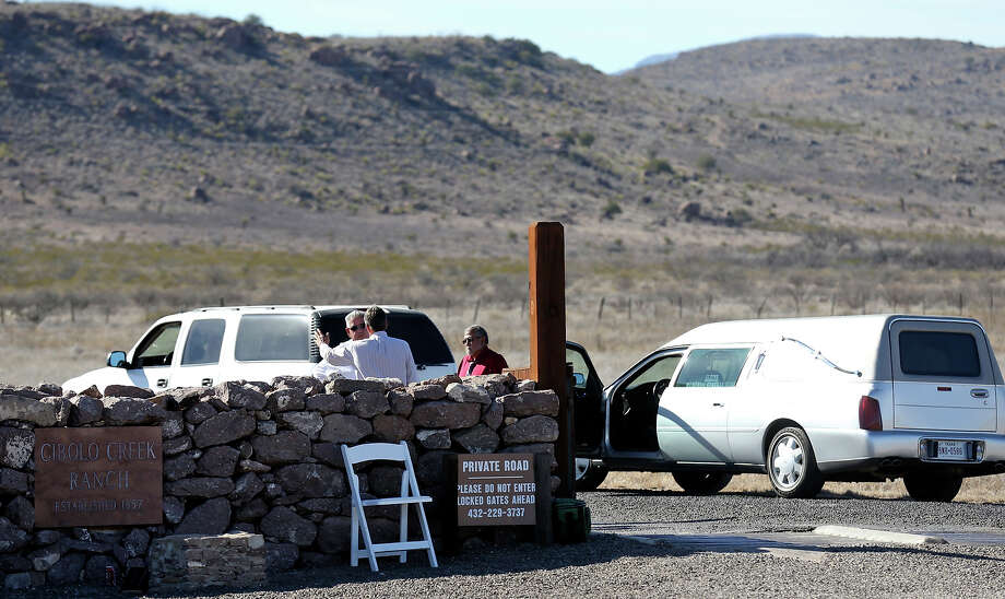A man guards the entrance to Cibolo Creek Ranch Saturday Feb. 13, 2016 on U.S. 67 near Shafter, Tx. Photo: Edward A. Ornelas, Staff / San Antonio Express-News / © 2016 San Antonio Express-News