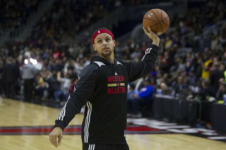 Western Conference point guard Stephen Curry, of the Golden State Warriors, takes part in practice at the NBA All-Star Game in Toronto on Feb. 13.