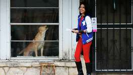 A dog barks from inside his home as Moriah Torres - dressed as Wonder Girl - leaves a flyer from Animal Care Services regarding responsible pet ownership on Saturday, Feb. 13, 2016. Torres is part of the cosplay group known as The Champions of San Antonio which teamed up with Animal Care Services (ACS) to spread the message of responsible pet ownership which includes spay or neutering the pet and microchipping. Champions of San Antonio members dressed as super heroes (and one villain) as they block-walked a neighborhood handing out the flyers. The group was met by some residents and the occasional canine or feline that populated the community. ACS attempts to do the public service announcements in neighborhoods that have known loose animal issues about twice a month. (Kin Man Hui/San Antonio Express-News)