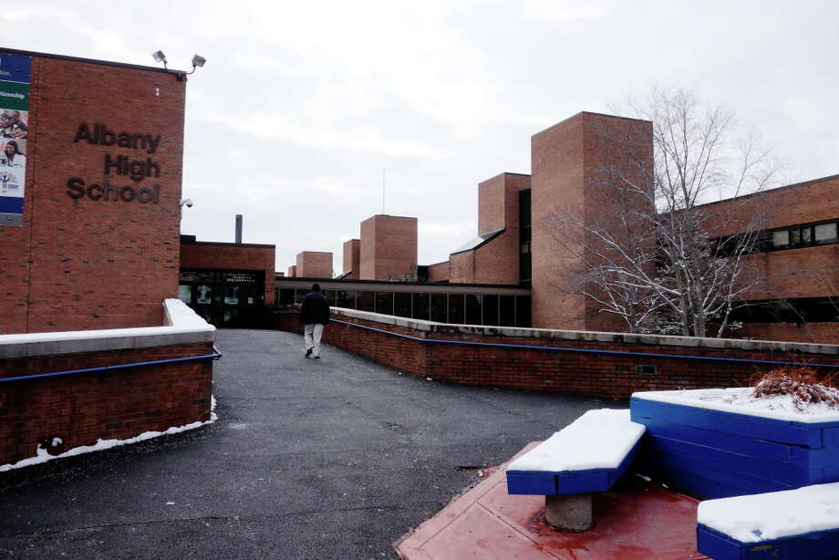 A view of Albany High School on Tuesday, Feb. 9, 2016, in Albany, N.Y.  City residents went to the polls on Tuesday to vote on the multimillion-dollar proposal to rebuild and expand high school.   (Paul Buckowski / Times Union) Photo: PAUL BUCKOWSKI / 10035321A