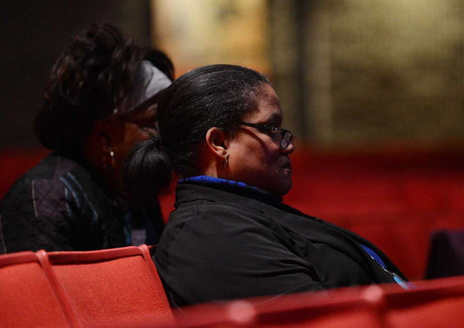 Albany School District Superintendent Marguerite Vanden Wyngaard waits for results at Albany High School Tuesday night, Nov. 3, 2015, in Albany, N.Y. City residents voted on a proposal to rebuild and expand Albany High School. (Will Waldron/Times Union)