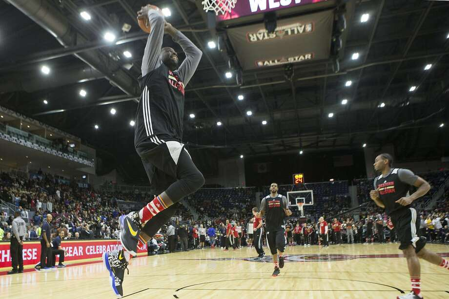 Western Conference forward Draymond Green, of the Golden State Warriors, dunks the ball during practice at the NBA All-Star Game on Feb. 13 in Toronto. Photo: Chris Young, Associated Press