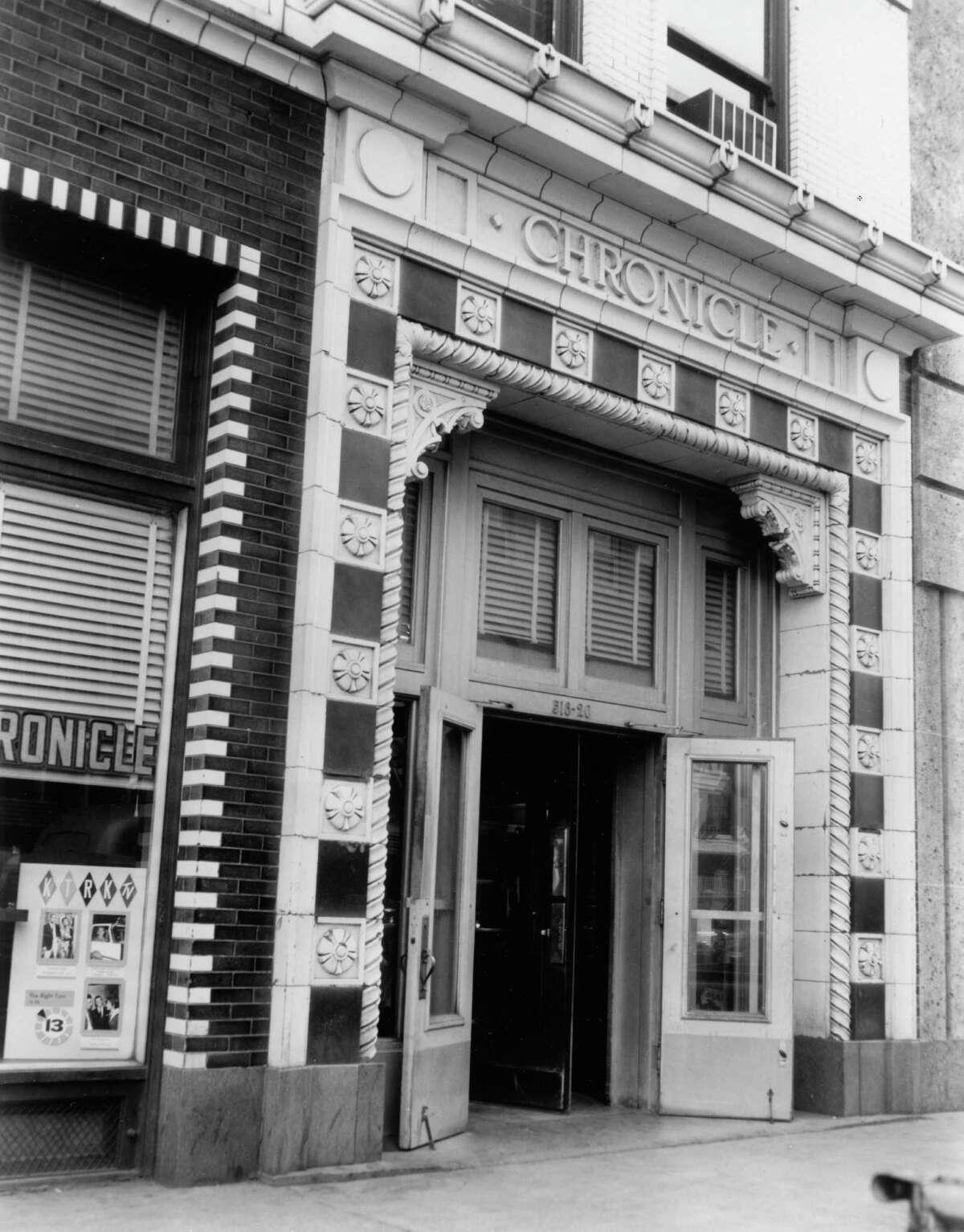 Original front door of Chronicle building on Travis.