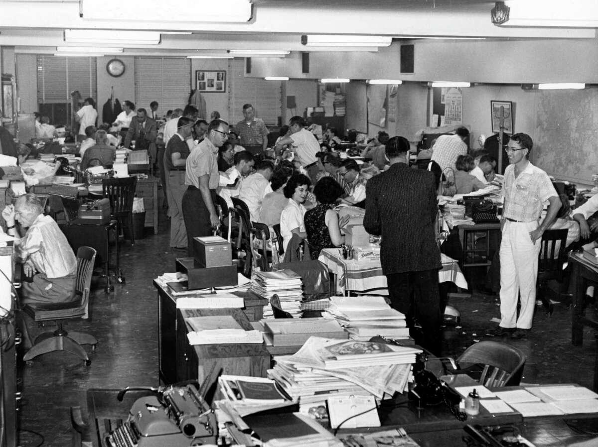 Chronicle newsroom on election night, May 1960.