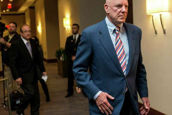 Houston Texans owner Bob McNair walks to a news conference during the NFL owners meetings on Tuesday, Jan. 12, 2016, in Houston. The NFL owners formally approved the relocation of the St. Louis Rams to Los Angeles. The San Diego Chargers have the option to join them. The final vote passed by a 30-2 margin.( Brett Coomer / Houston Chronicle )