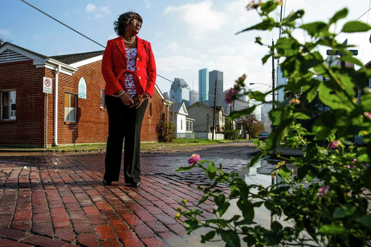 Dorris Ellis Robinson, president of Freedmen's Town Preservation Coalition, wants to use a non-invasive method to update city services beneath the streets and leave the bricks intact.