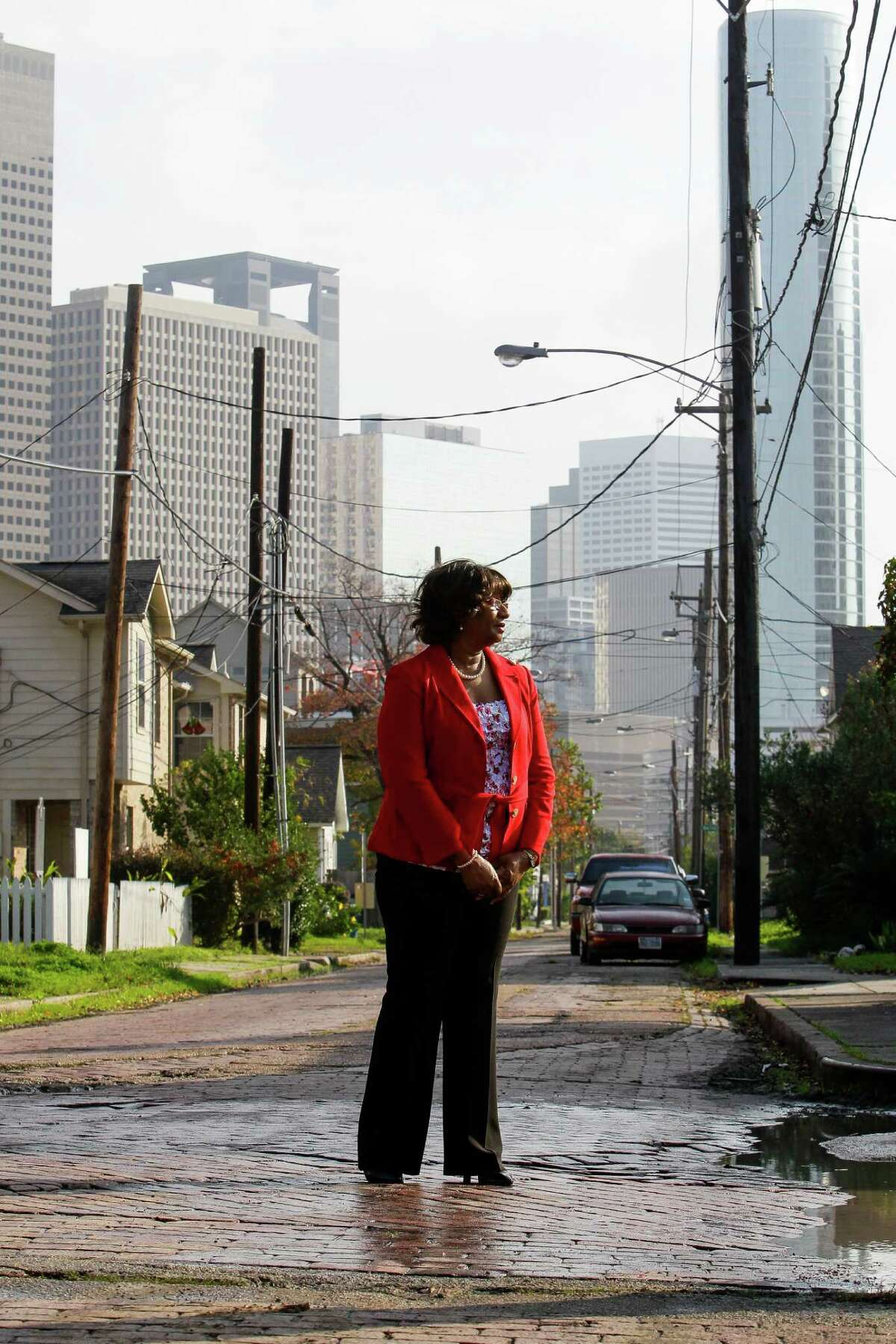 Dorris Ellis Robinson, president of Freedmen's Town Preservation Coalition, says the brick streets were laid by former slaves and have historical and spiritual significance.