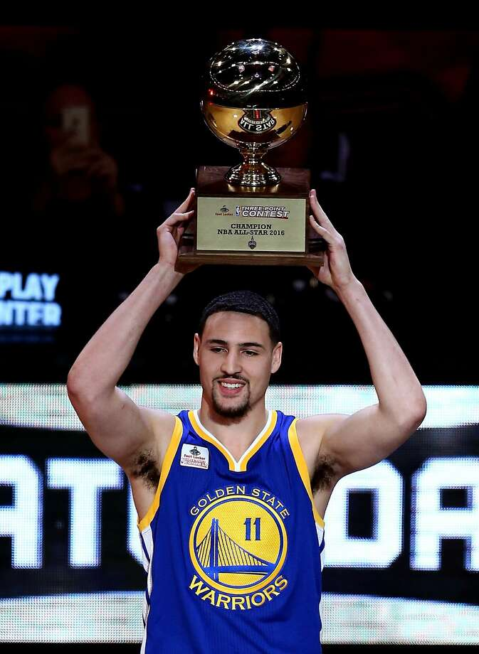 Warriors guard Klay Thompson won the three-point contest. Photo: Vaughn Ridley, Getty Images