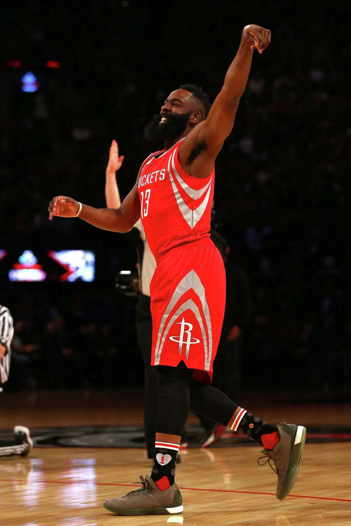TORONTO, ON - FEBRUARY 13: James Harden of the Houston Rockets shoots in the Foot Locker Three-Point Contest during NBA All-Star Weekend 2016 at Air Canada Centre on February 13, 2016 in Toronto, Canada. NOTE TO USER: User expressly acknowledges and agrees that, by downloading and/or using this Photograph, user is consenting to the terms and conditions of the Getty Images License Agreement.