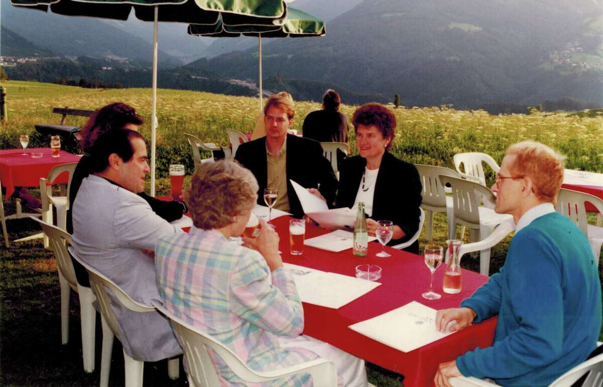 Senior U.S. Supreme Court Associate Justice Antonin Scalia and Maureen Scalia are pictured with Professor Jeff Pokorak, former Dean Barbara Aldave and Professor Vincent Johnson during a summer law program in Austria offered by St. Mary's University in 1992.
