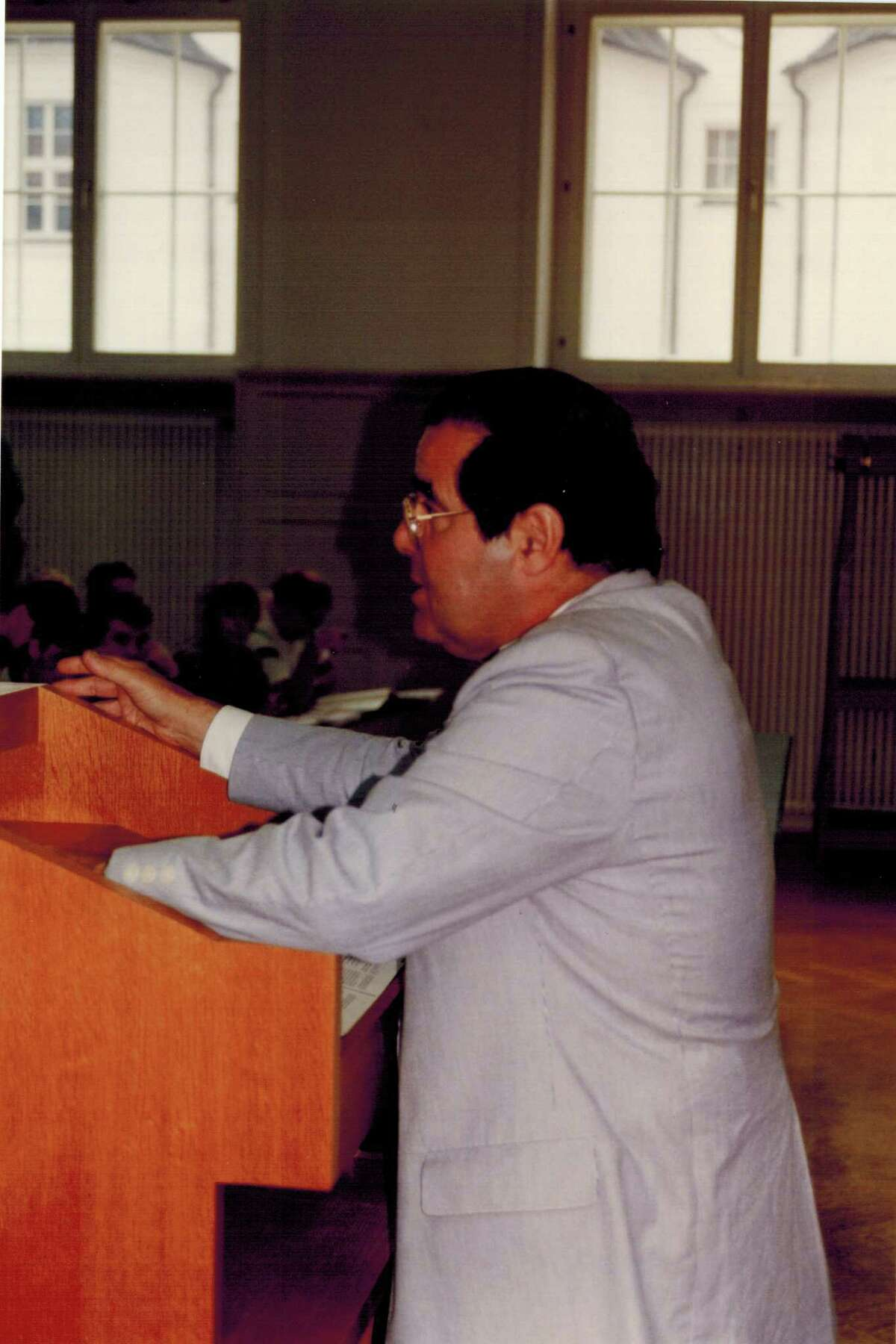 Senior U.S. Supreme Court Associate Justice Antonin Scalia teaches a class of St. Mary's University law students at the University of Innsbruck in Austria during a summer law program in 1992.