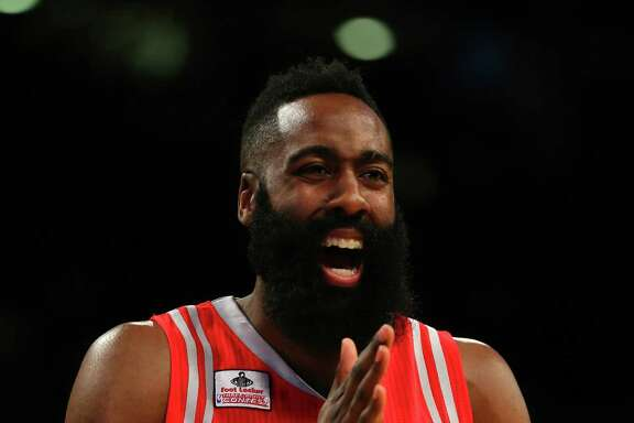 TORONTO, ON - FEBRUARY 13: James Harden of the Houston Rockets reacts in the Foot Locker Three-Point Contest during NBA All-Star Weekend 2016 at Air Canada Centre on February 13, 2016 in Toronto, Canada. NOTE TO USER: User expressly acknowledges and agrees that, by downloading and/or using this Photograph, user is consenting to the terms and conditions of the Getty Images License Agreement.  (Photo by Elsa/Getty Images)