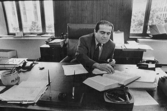 Judge Antonin Scalia, served on the United States Court of Appeals in the District of Columbia Circuit, as shown in his 1986 picture, before he became a justice on the Supreme Court.