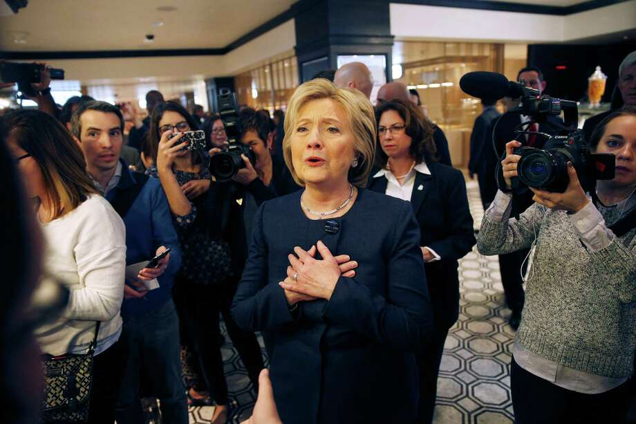 Democratic presidential candidate Hillary Clinton campaigns in Las Vegas on Saturday, the same day the State Department released 551 more of her emails.  Photo: John Locher, STF / AP
