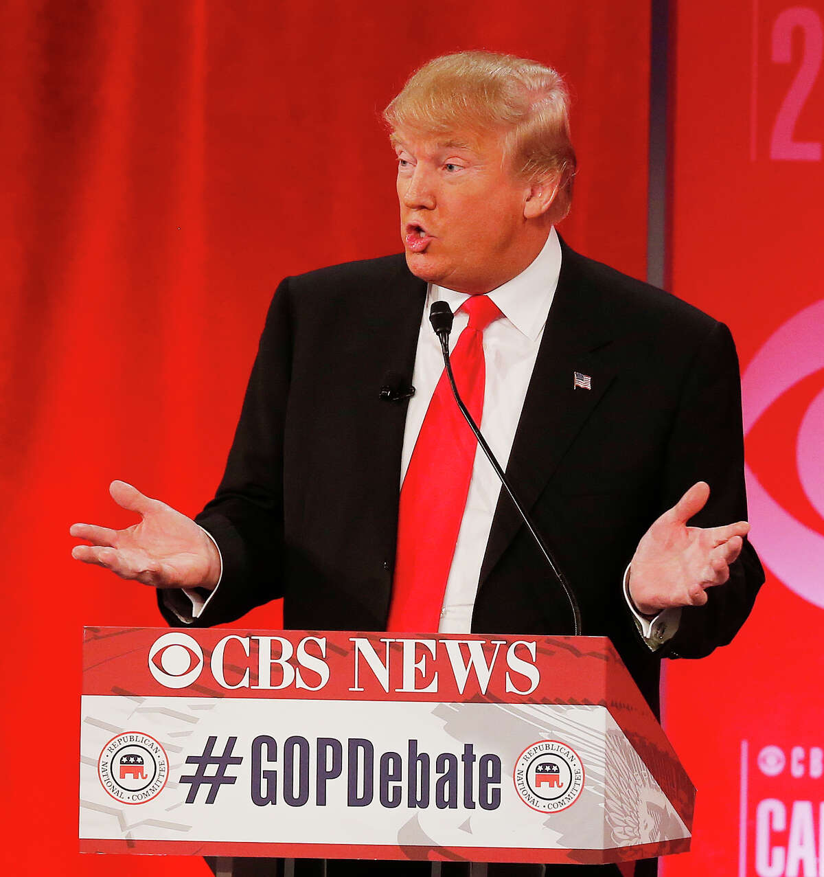 Republican presidential candidate, businessman Donald Trump speaks during the CBS News Republican presidential debate at the Peace Center, Saturday, Feb. 13, 2016, in Greenville, S.C. (AP Photo/John Bazemore) ORG XMIT: RNC126