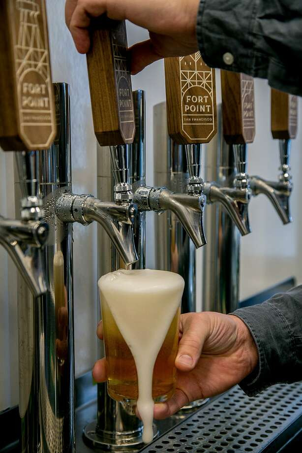 A Kolsch Style Ale being poured at the Fort Point kiosk at the Ferry Building in San Francisco. Photo: John Storey, Special To The Chronicle