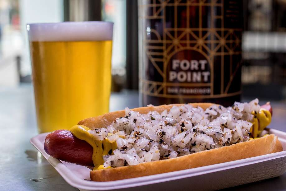 The No. 2 Hot Dog with the Kolsch Style Ale at the Fort Point kiosk. Photo: John Storey, Special To The Chronicle