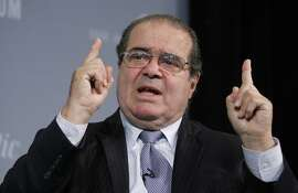 Supreme Court Justice Antonin Scalia participates at the third annual Washington Ideas Forum at the Newseum in Washington ,Thursday Oct. 6, 2011.    (AP Photo/Manuel Balce Ceneta)