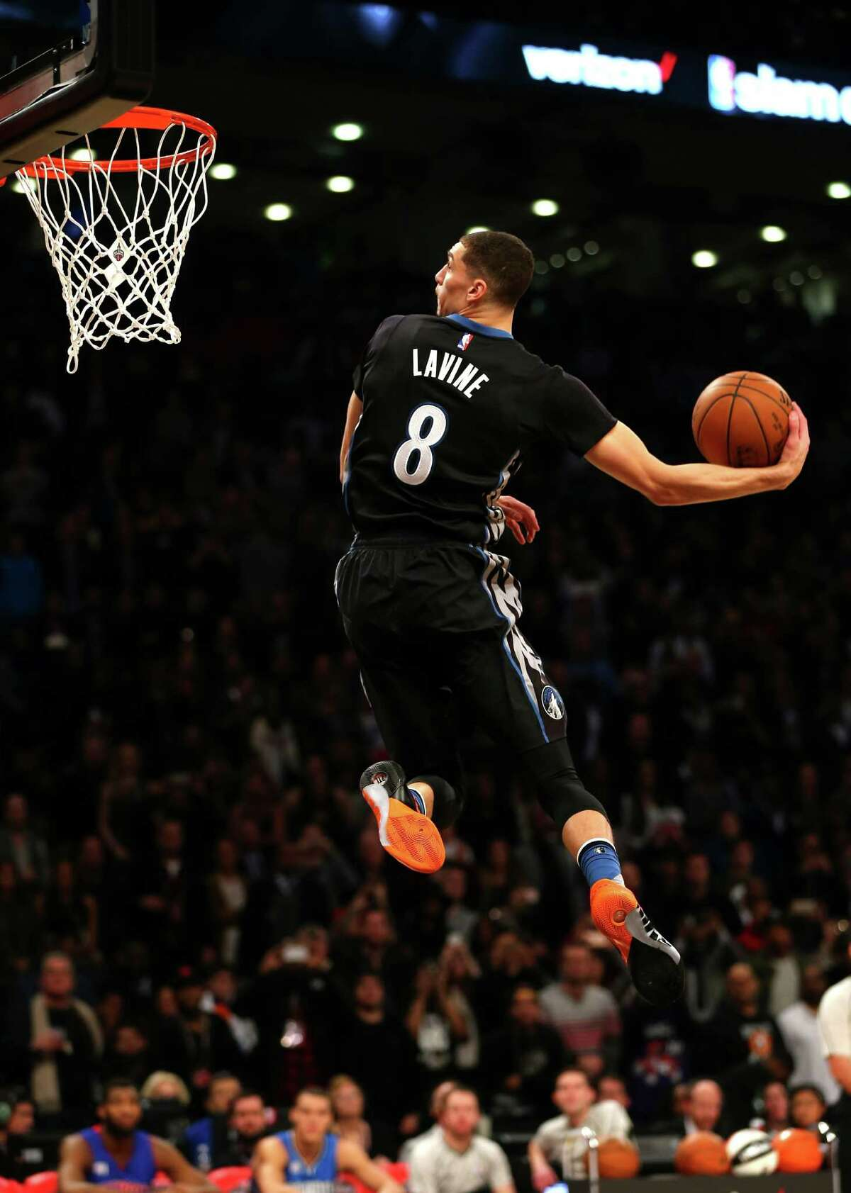 TORONTO, ON - FEBRUARY 13: Zach LaVine of the Minnesota Timberwolves dunks in the Verizon Slam Dunk Contest during NBA All-Star Weekend 2016 at Air Canada Centre on February 13, 2016 in Toronto, Canada. NOTE TO USER: User expressly acknowledges and agrees that, by downloading and/or using this Photograph, user is consenting to the terms and conditions of the Getty Images License Agreement.