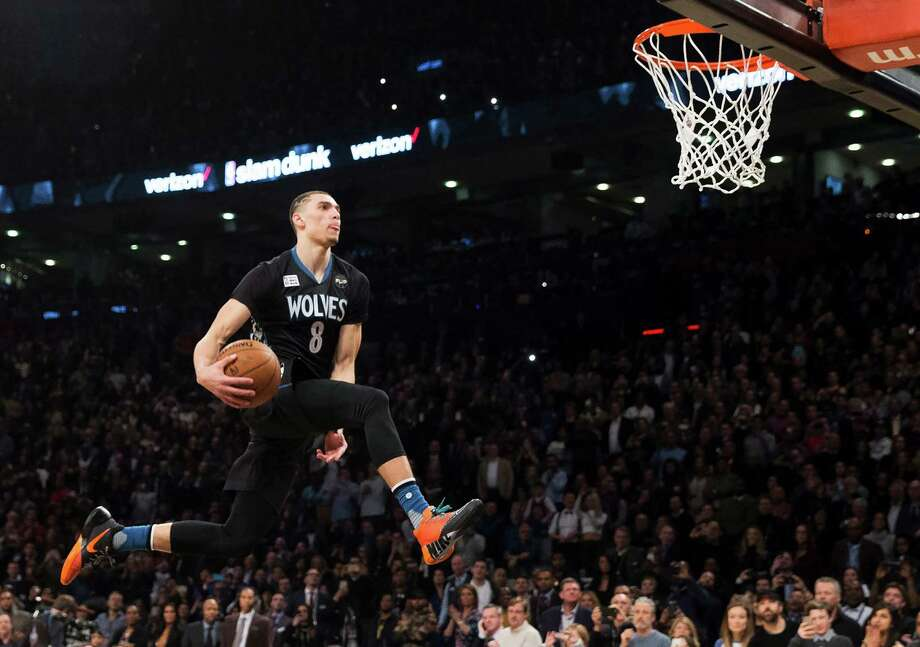 Minnesota Timberwolves' Zach LaVine slam dunks the ball during the NBA all-star skills competition in Toronto on Saturday, Feb. 13, 2016. (Mark Blinch/The Canadian Press via AP) MANDATORY CREDIT Photo: Mark Blinch, Associated Press / CP