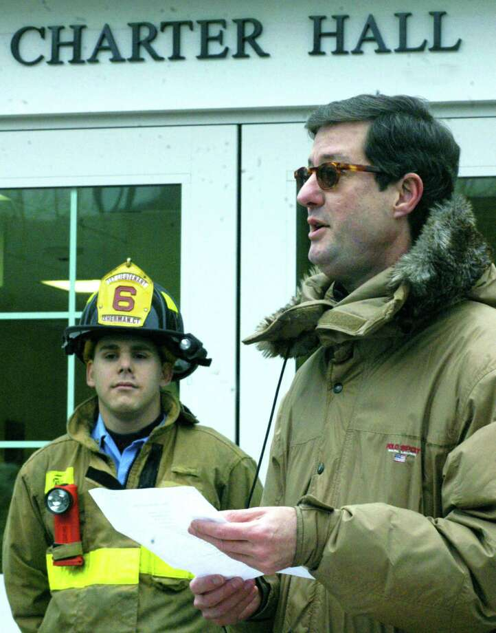 File photo of Chad Beatty, the assistant chief of the Sherman Volunteer Fire Department, and First Selectman Clay Cope from Dec. 8, 2013. Photo: Norm Cummings / Norm Cummings / The News-Times