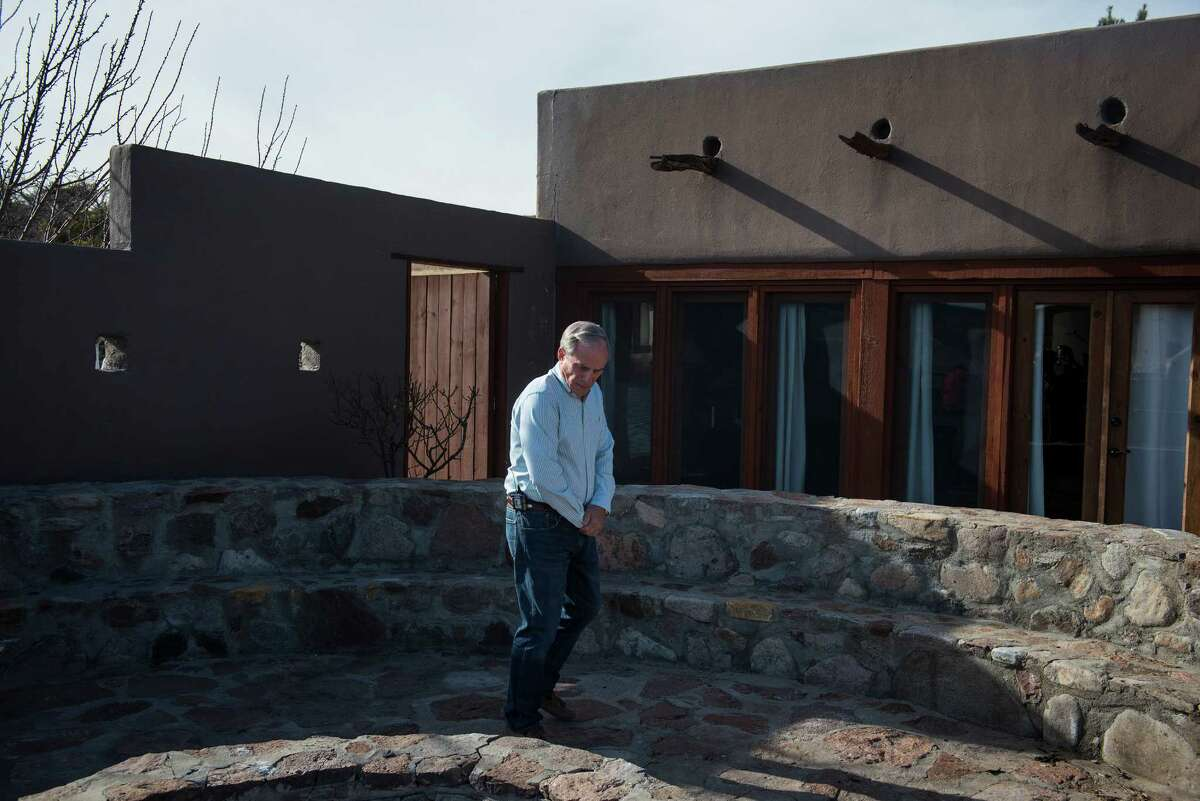 """George Van Etten, a property manager at Cibolo Creek Ranch, shows reporters the Ranch house the day following the death Supreme Court Justice Antonin Scalia at the West Texas Resort ranch February 14 , 2016 in Shafter, Texas. Justice Scalia stayed in the """"El Presidente"""" suite, shown behind Van Etten, this past Friday night, he was found Saturday morning to have died, not responding to those who tried to wake him."""