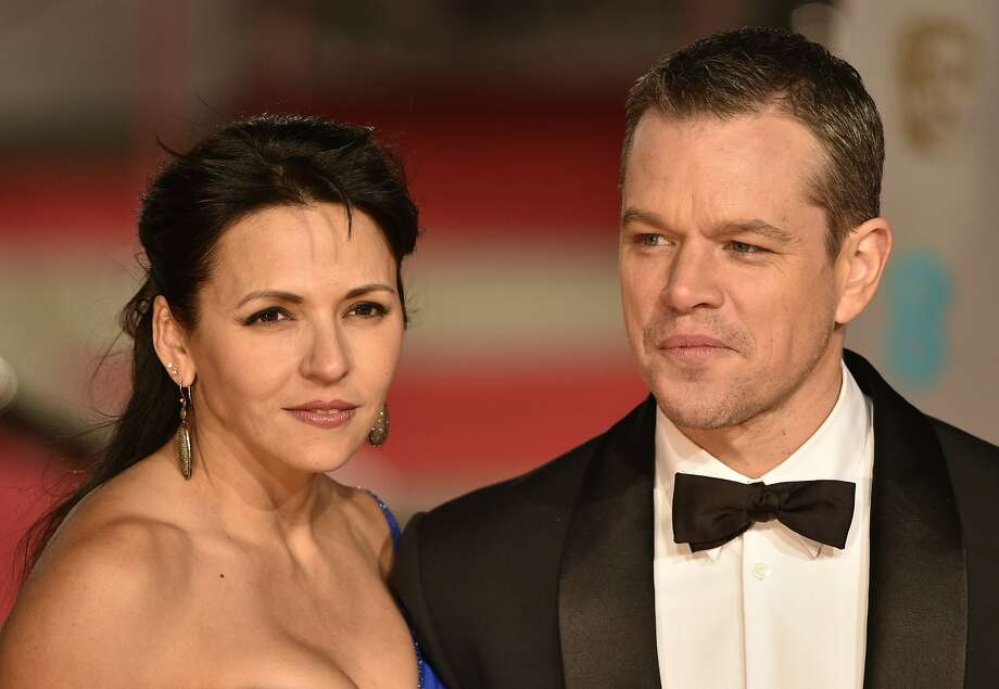 Actor Matt Damon (right) and wife Luciana Barroso pose on arrival for the BAFTA British Academy Film Awards at the Royal Opera House in London on Feb. 14, 2016. Photo: Niklas Halle'n, AFP / Getty Images