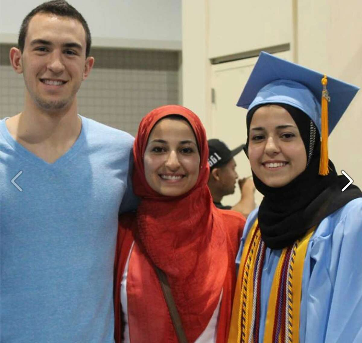 Deah Barakat, his wife, Yusor Mohammad Abu-Salha, 21, and her sister, Razan Mohammad Abu-Salha, were killed Tuesday, Feb. 10, 2015. The photo comes from a Facebook page created by friends of the trio. (Our Three Winners)
