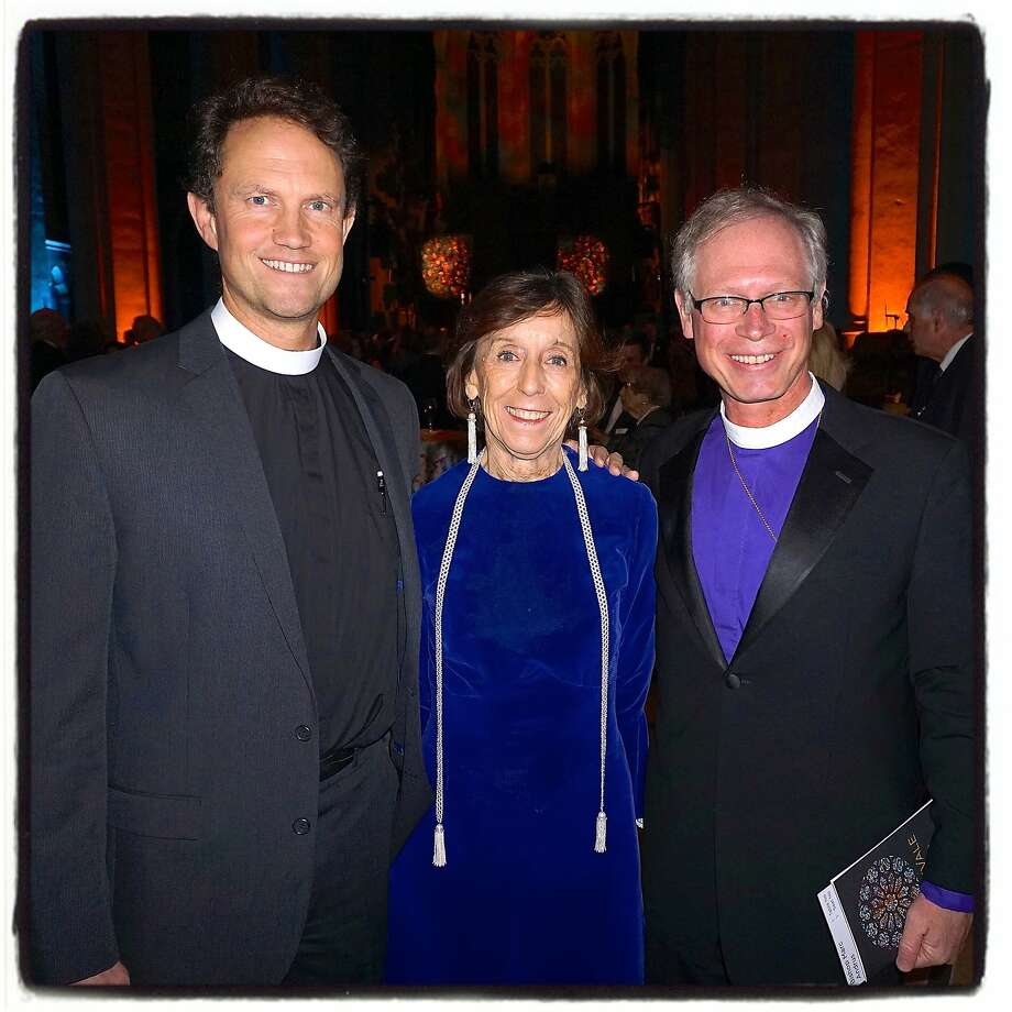 Dean of Grace Cathedral, the Rt. Rev. Dr. Malcolm Clemens Young (left) with Grace Cathedral board chairwoman Jane Shaw and Episcopal Bishop of California, the Rt. Rev. Marc Andrus, at the Carnivale fundraiser. Photo: Catherine Bigelow, Special To The Chronicle