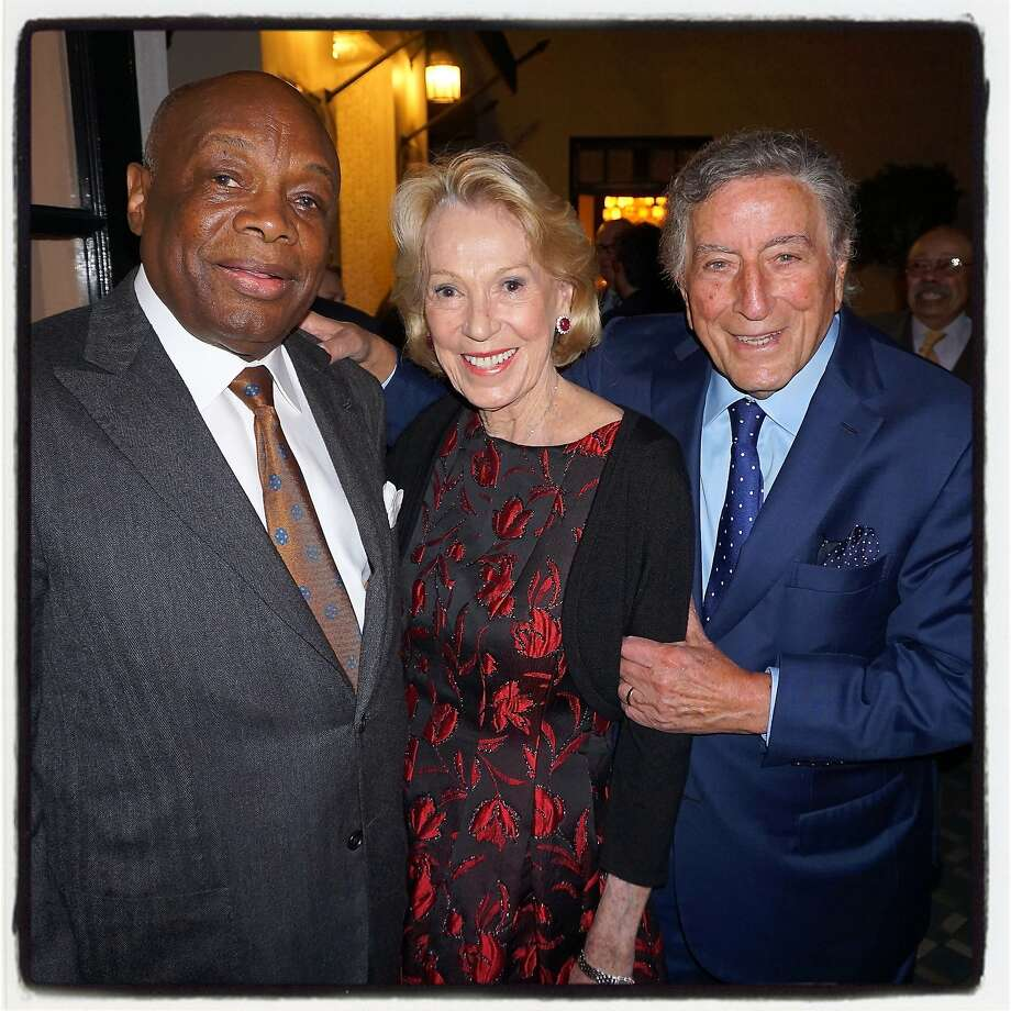 Former Mayor Willie Brown (at left) with Protocol Chief Charlotte Shultz and Tony Bennett in the Fairmont Hotel penthouse. Photo: Catherine Bigelow, Special To The Chronicle