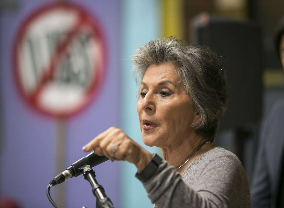 Senator Barbara Boxer holds a news conference with residents affeected by the Aliso Canyon natural gas leak at Shepherd of the Hills Church in the Porter Ranch area of Los Angeles. Photo: Damian Dovarganes, Associated Press
