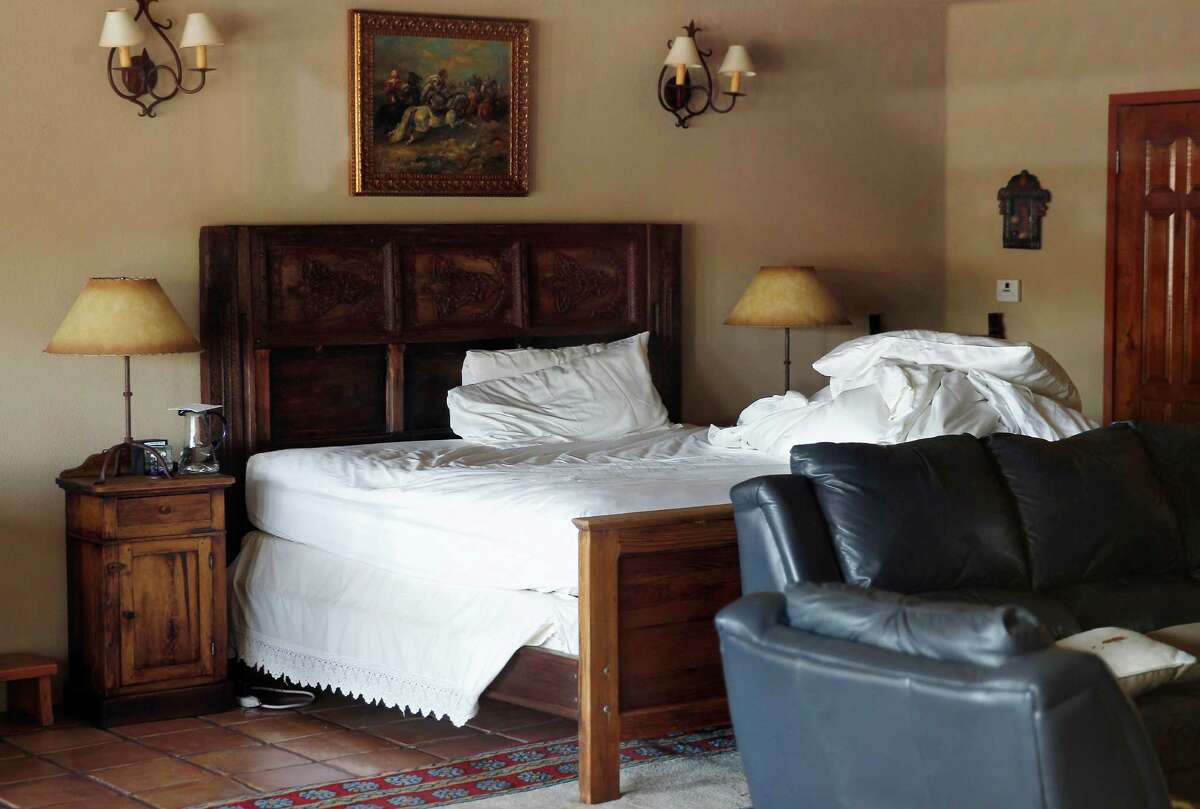 """Ranch owner John Poindexter found Supreme Court Justice Antonin Scalia dead in this bed in the """"El Presidente"""" suite of the Cibolo Creek Ranch Saturday morning, Feb. 13, 2016, after the justice missed breakfast."""