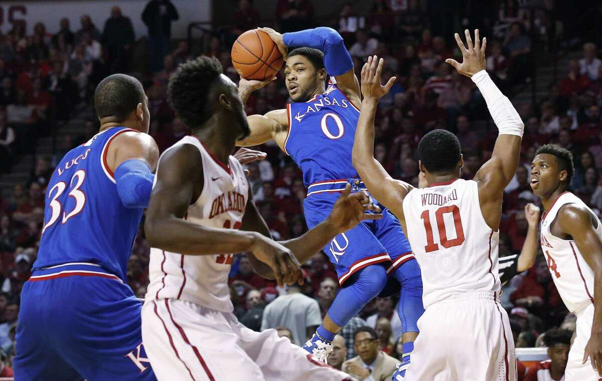 Four conference shake ups:1. Kansas picked up its second win of the season over Oklahoma on Saturday. The 76-72 victory dropped the Sooners to third place in the Big 12 conference behind the second place Jayhawks and first place West Virginia.
