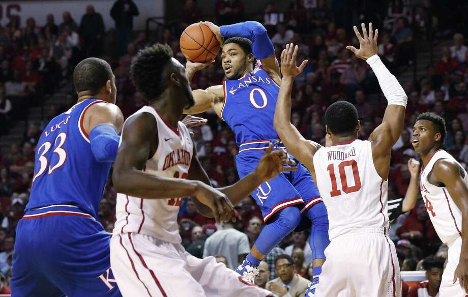 Four conference shake ups:1.Kansas picked up its second win of the season over Oklahoma on Saturday. The 76-72 victory dropped the Sooners to third place in the Big 12 conference behind the second place Jayhawks and first place West Virginia. Photo: Sue Ogrocki, Associated Press / AP
