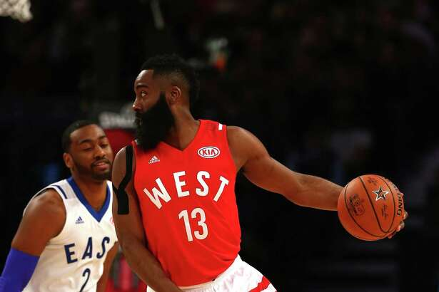 TORONTO, ON - FEBRUARY 14: James Harden #13 of the Houston Rockets and the Western Conference handles the ball against John Wall #2 of the Washington Wizards and the Eastern Conference in the first half during the NBA All-Star Game 2016 at the Air Canada Centre on February 14, 2016 in Toronto, Ontario. NOTE TO USER: User expressly acknowledges and agrees that, by downloading and/or using this Photograph, user is consenting to the terms and conditions of the Getty Images License Agreement.