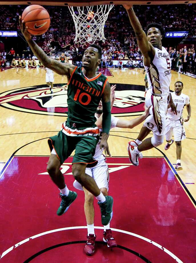 TALLAHASSEE, FL - FEBRUARY 14: Sheldon McClellan #10 of the Miami Hurricanes in action during the game against the Florida State Seminoles at the Donald L. Tucker Center on February 14, 2016 in Tallahassee, Florida. Photo: Rob Foldy, Stringer / 2016 Getty Images