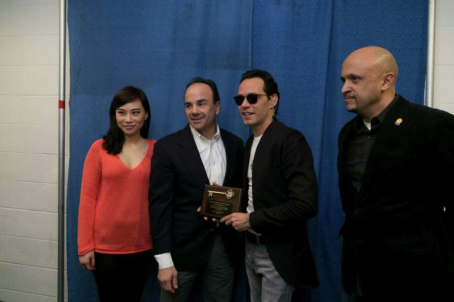 Marc Anthony received the key to the City of Bridgeport from Mayor Ganim on February 14, 2016.View more photos here.  Photo: Dawn Kubie