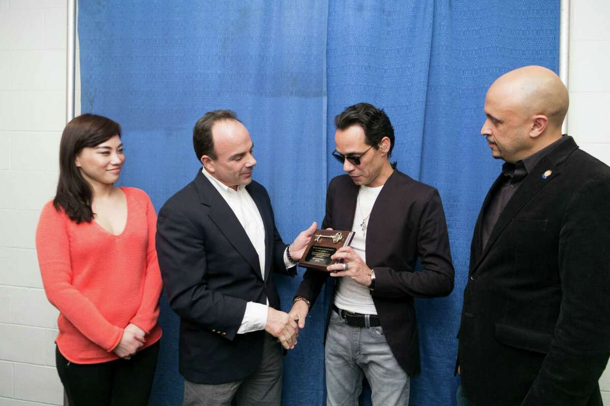 Marc Anthony received the key to the City of Bridgeport from Mayor Ganim on February 14, 2016