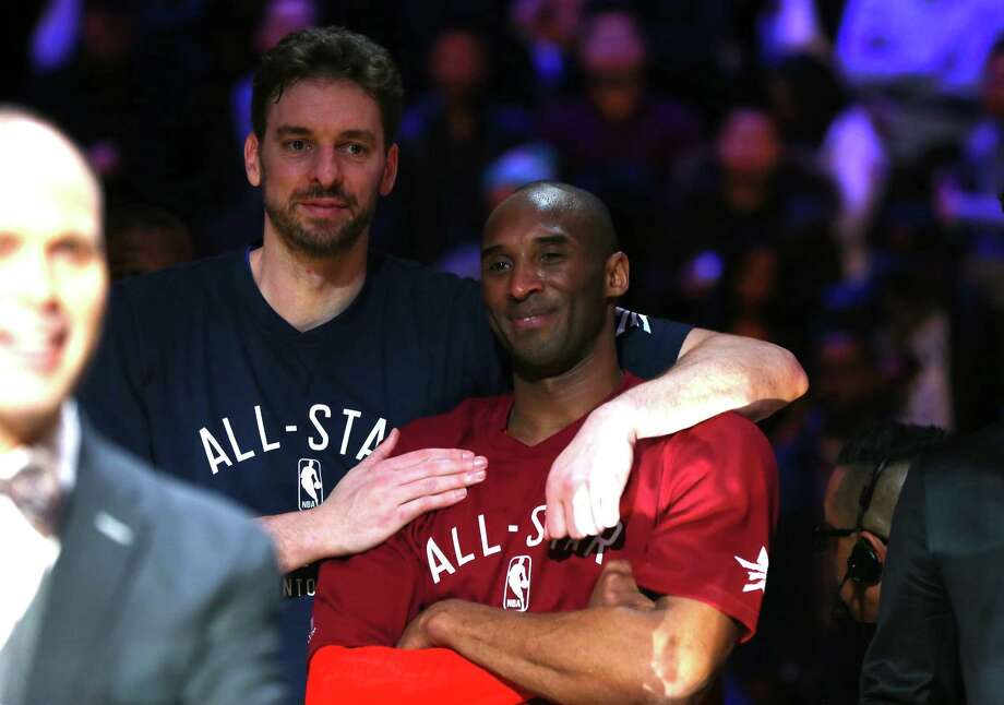 TORONTO, ON - FEBRUARY 14: Pau Gasol #16 of the Chicago Bulls and the Eastern Conference and Kobe Bryant #24 of the Los Angeles Lakers and the Western Conference look on late in the game during the NBA All-Star Game 2016 at the Air Canada Centre on February 14, 2016 in Toronto, Ontario. NOTE TO USER: User expressly acknowledges and agrees that, by downloading and/or using this Photograph, user is consenting to the terms and conditions of the Getty Images License Agreement.  (Photo by Elsa/Getty Images) Photo: Elsa, Staff / Getty Images / 2016 Getty Images