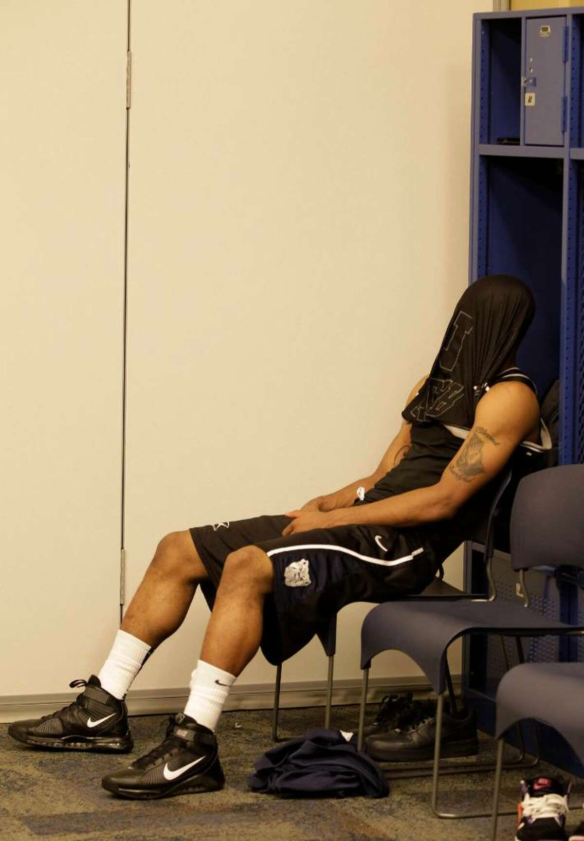 Butler's Willie Veasley sits in the locker room after his team's 61-59 loss to Duke in the men's NCAA Final Four college basketball championship game Monday, April 5, 2010, in Indianapolis.
