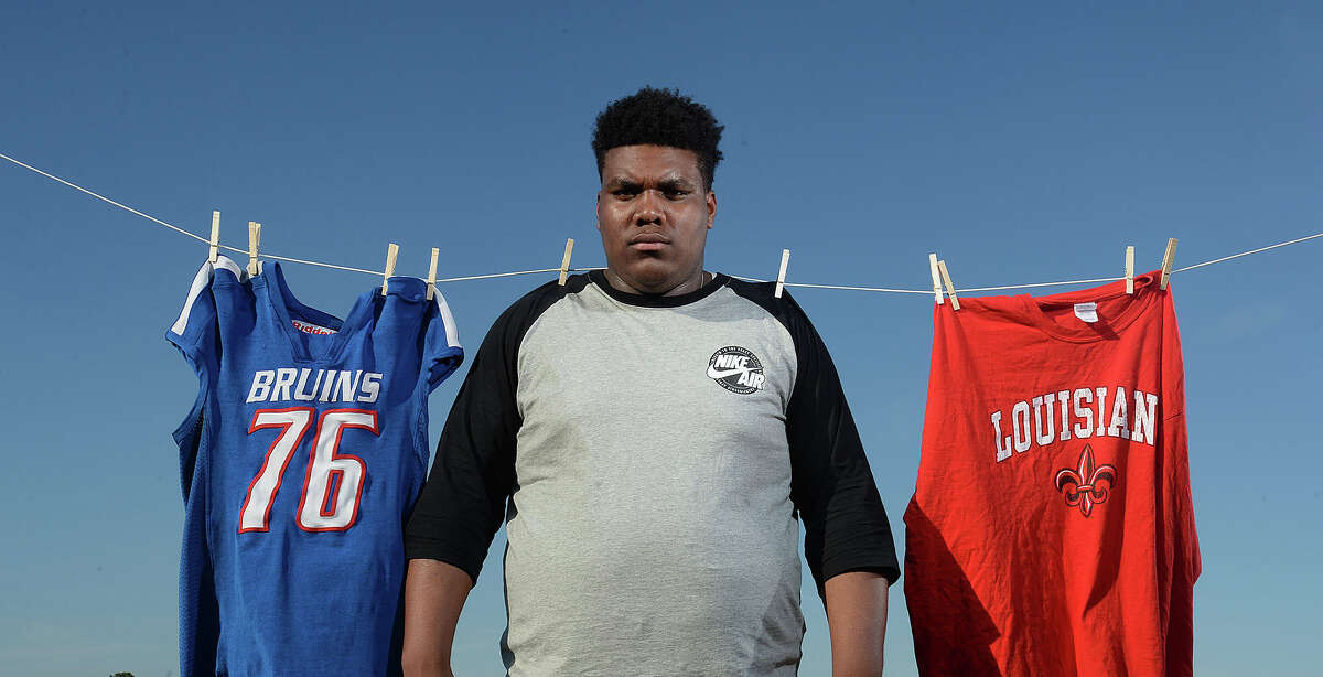 Two months after the University of Louisiana at Lafayette offered West Brook's Alfred Beverly a scholarship, the school rescinded its offer leaving the footballer high and dry. Photo taken Thursday, February 11, 2016 Guiseppe Barranco/The Enterprise
