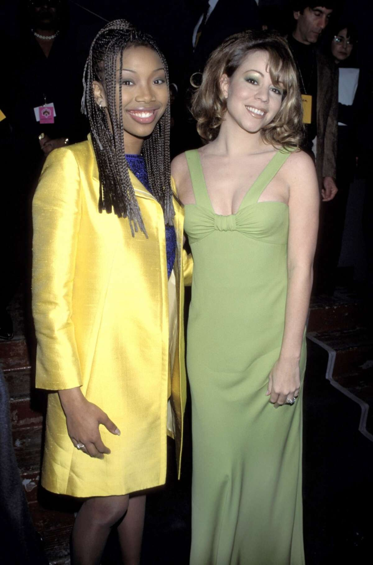Brandy and Mariah Carey during The 38th Annual GRAMMY Awards - Press Room at Shrine Auditorium on Feb. 28, 1996 in Los Angeles.