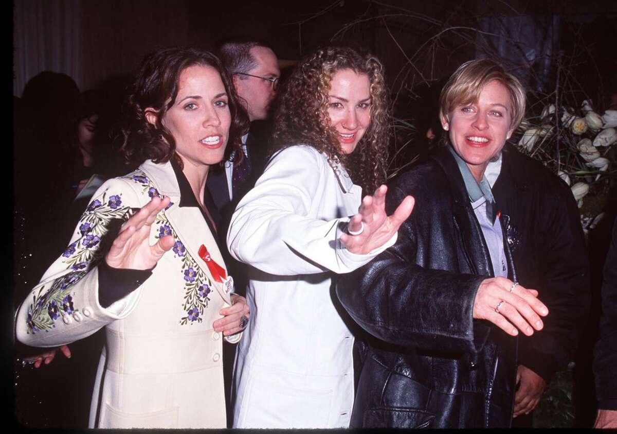 Sheryl Crow, Joan Osborne, Ellen DeGeneres during The 38th Annual GRAMMY Awards - Polygram Party at Chasen's Restaurant on Feb. 28, 1996 in Beverly Hills, Calif.