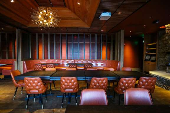 A side dining area, called the Cascade room, for larger parties can be seen at Joe's of Westlake in Daly City, California on Tuesday, February 14, 2016.