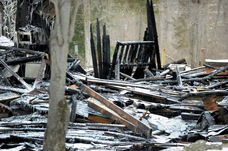 A home on Deer Hill Road in Sherman was totally destroyed by fire Saturday night. Photo Monday, February 15, 2016. Photo: Carol Kaliff / Hearst Connecticut Media / The News-Times