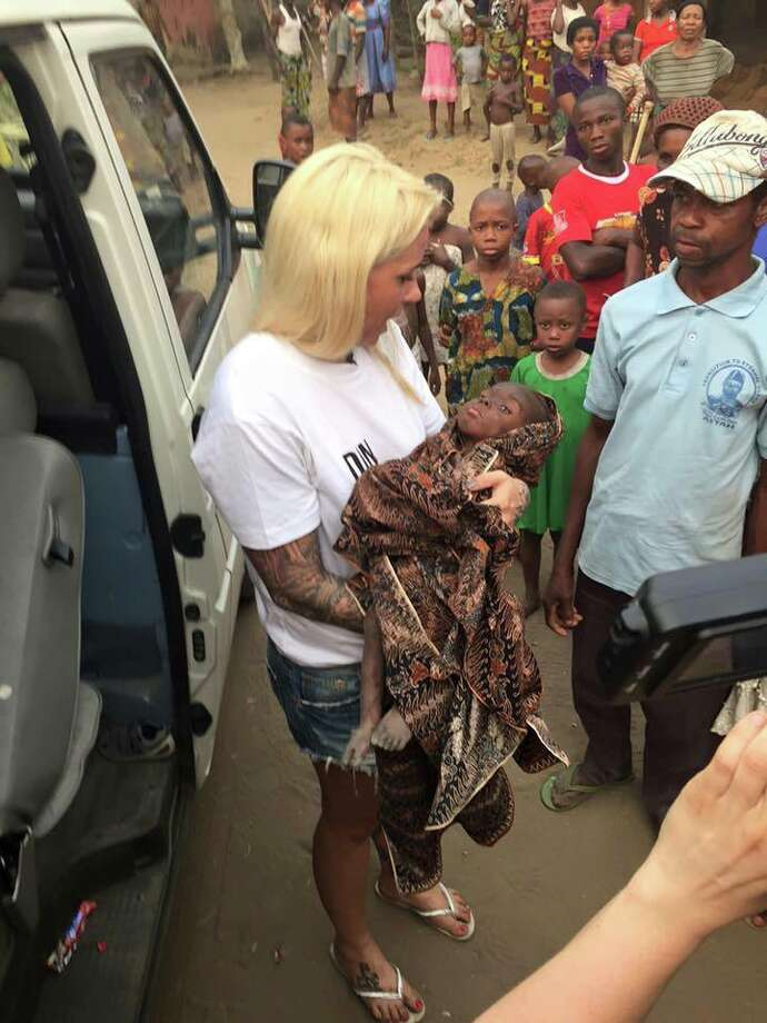 Anja Ringgren Lovén, the Danish founder of the African Children's Aid Education and Development Foundation, rescues a starving Nigerian child after he was labeled a witch by his community and abandoned by his parents. Warning: The following images are distressing.  Photo: Anja Ringgren Lovén