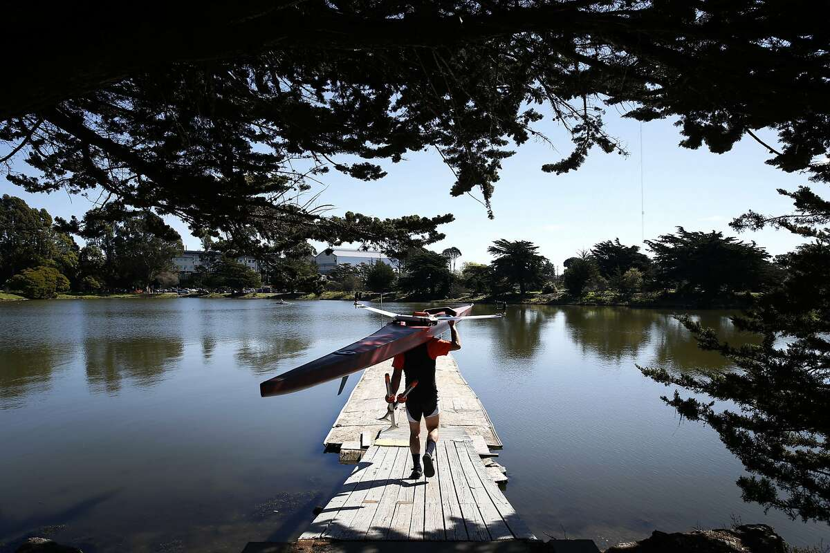 Steve Schaffran prepares for an afternoon of sculling at Aquatic Park in Berkeley, Calif. on Monday, Feb. 15, 2016. High temperature records were expected to be broken throughout the region as the Bay Area continues to bask in warm weather.