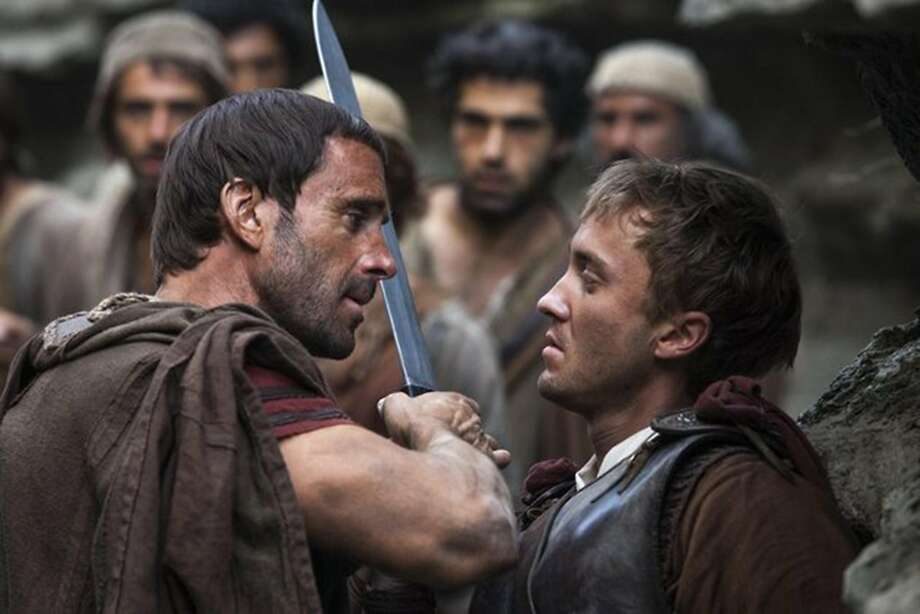 Joseph Fiennes (left) as trib une Clavius and Tom Felton. Photo: Handout, McClatchy-Tribune News Service