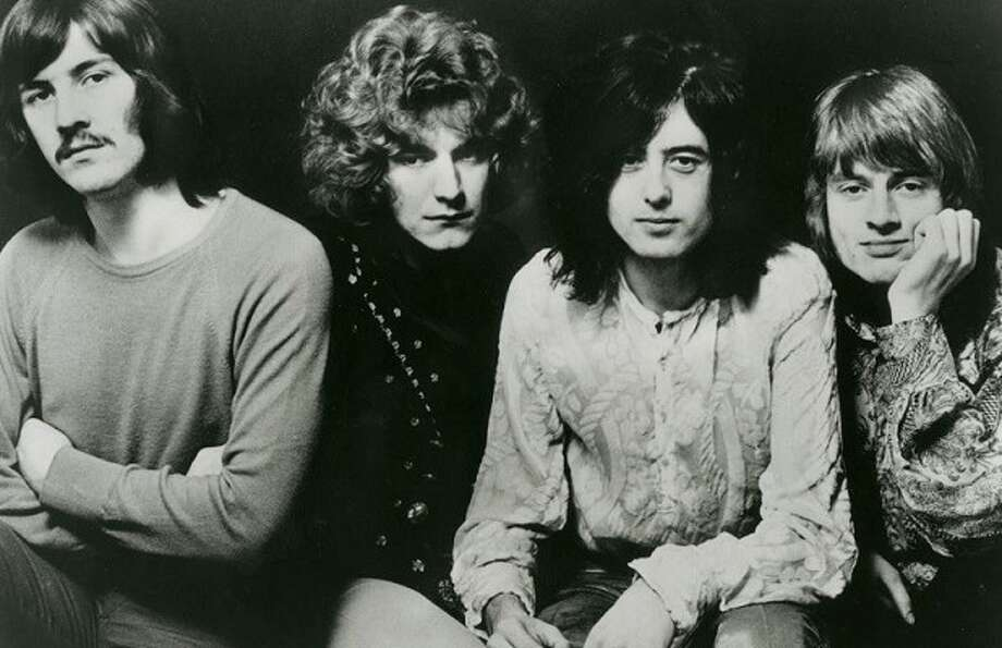 Led Zeppelin is shown in the late 1960s.